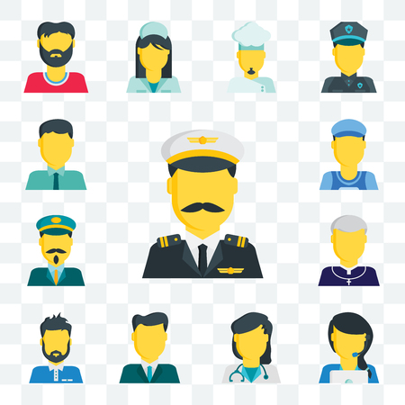 Set Of 13 transparent editable icons such as Pilot, Customer service, Doctor, Businessman, Man, Priest, Driver, Clerk, web ui icon pack Illustration