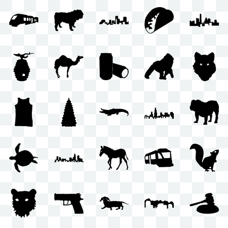 Set Of 25 transparent icons such as gavel, utah, dachshund, handgun, tiger face, wolf illinois state, zebra, sea turtle, beehive, louisiana, dog, web UI transparency icon pack