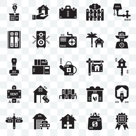 Set Of 25 transparent icons such as Title, Real estate, Kilograms, Maps and Flags, Single, Hearth, Paper work, web UI transparency icon pack, pixel perfect