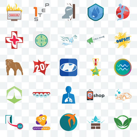 Set Of 25 transparent icons such as eco club, aquarius, oops, step 1, cash on delivery, estimate, eshop, dog, web UI transparency icon pack, pixel perfect