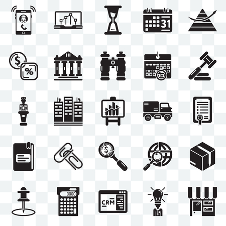 Set Of 25 transparent icons such as Online store, Businessman, CRM, Calculating, Push pin, Judging, Trucking, Dollar, School material, Banking, Wait, Line chart, web UI transparency icon pack