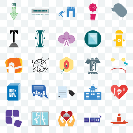 Set Of 25 transparent icons such as hospitality, cost uction, fire hydrant, buffering, adaptability, elastic, municipal, dab, web UI transparency icon pack, pixel perfect