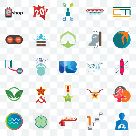Set Of 25 transparent icons such as inflammation, step 1, catering, estimate, aquarius, swift, waterfall, veteran, eco club, convert, campaign management, 20% off, web UI transparency icon pack Illustration