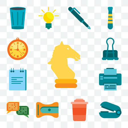 Set Of 13 transparent editable icons such as Horse, Stapler remover, Coffee, Sharpener, Chat, Printer, Note, Clip, Clock, web ui icon pack Vecteurs