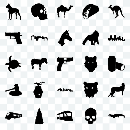 Set Of 25 transparent icons such as alligator, simple skull, train, christmas tree, colorado, wolf face, norway, gavel, handgun, camel, web UI transparency icon pack