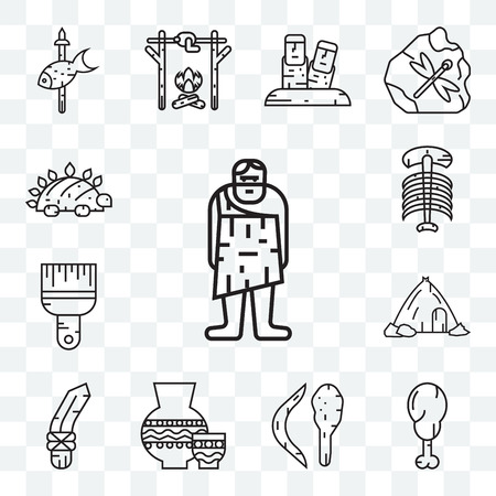 Set Of 13 transparent editable icons such as Troglodyte, Chicken leg, Boomerang, Pottery, Knife, House, Brush, Dinosaur, web ui icon pack Illustration