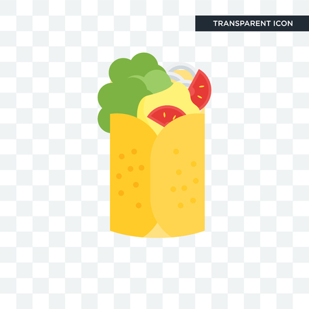 Burrito vector icon isolated on transparent background