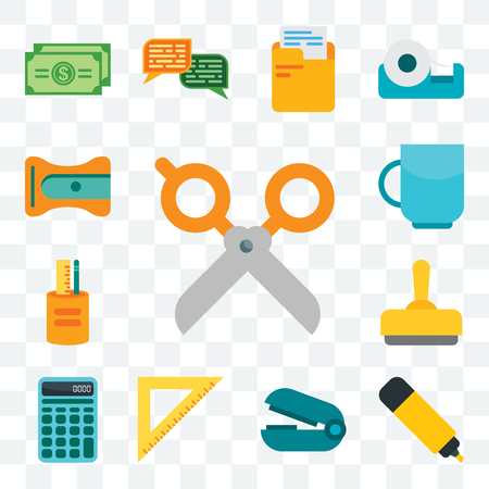 Set Of 13 transparent editable icons such as Scissors, Marker, Stapler remover, Ruler, Calculator, Stamp, Writing tool, Cup, Sharpener, web ui icon pack