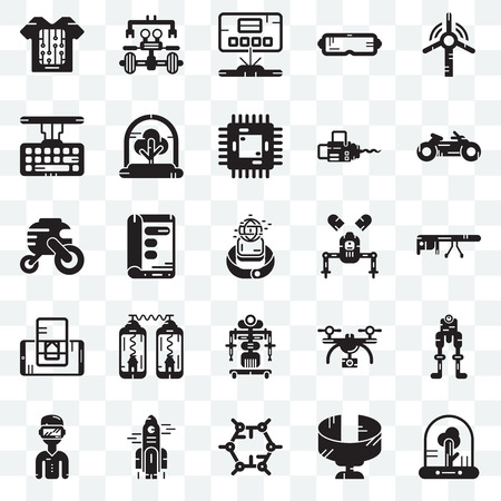 Set Of 25 transparent icons such as Tree, Panoramic view, Graphene, Rocket, Motorbike, Robot, Smartphone, Keyboard, Hologram, web UI transparency icon pack