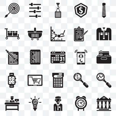 Set Of 25 transparent icons such as Ancient, Office material, Clothing, Music player, Administrator, Online store, Dollar, School web UI transparency icon pack, pixel perfect Vectores
