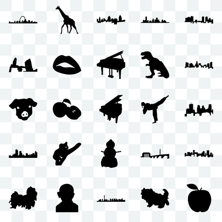 Set Of 25 transparent icons such as apple, shih tzu, las vegas, gandhi, charlotte, karate kick, snowman, denver, long island, cincinnati, giraffe, web UI transparency icon pack