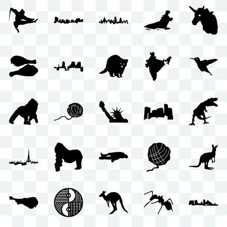 Set Of 25 transparent icons such as wisconsin, ant, kangaroo, yin yang, turkey leg, hummingbird, minnesota, chalk, paris, london, jamaica, web UI transparency icon pack Ilustração