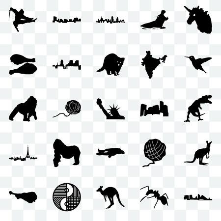 Set Of 25 transparent icons such as wisconsin, ant, kangaroo, yin yang, turkey leg, hummingbird, minnesota, chalk, paris, london, jamaica, web UI transparency icon pack  イラスト・ベクター素材