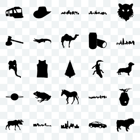 Set Of 25 transparent icons such as dog, police car, state of texas, cuba, moose, illinois state, alligator, zebra, saturn, gavel, virginia cowboy hat, web UI transparency icon pack Illustration
