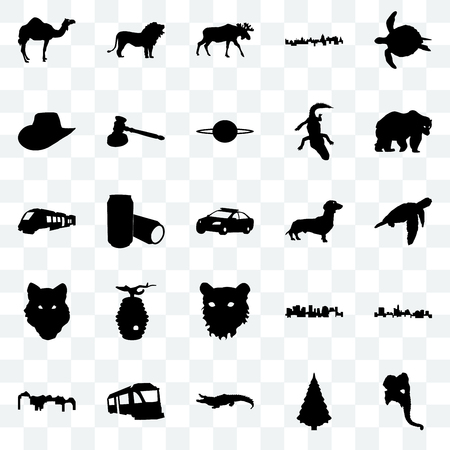 Set Of 25 transparent icons such as elephant head, christmas tree, alligator, train, utah, bear, dachshund, tiger face, wolf cowboy hat, moose, lion, web UI transparency icon pack