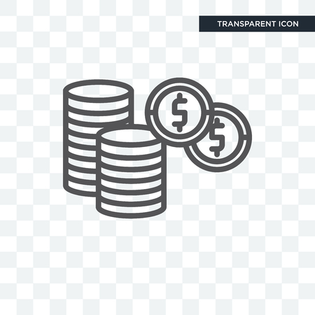 Dollar Coins Stack vector icon isolated on transparent background