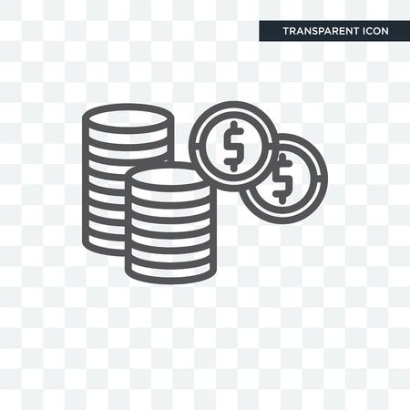 Dollar-Münzen-Stapelvektorikone lokalisiert auf transparentem Hintergrund