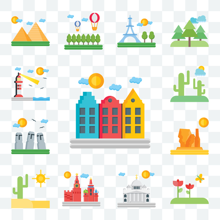 Set Of 13 transparent editable icons such as Amsterdam, Flowers, Vaticano, Moscow, Desert, Grand canyon, Easter Island, Lighthouse, web ui icon pack