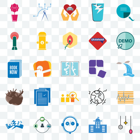 Set Of 25 transparent icons such as christmas bulb, municipal, live support, shepherd, earthquake, demo, adaptability, advisor, moose, penetration, car dealer, telecom, web UI transparency icon pack 向量圖像