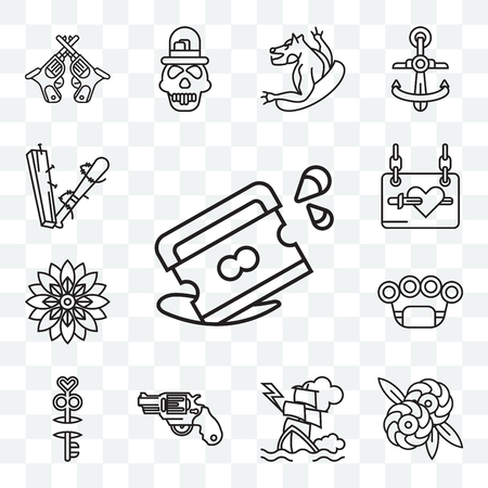 Set Of 13 transparent editable icons such as Razor, Flowers, Ship, Gun, Key, Brass knuckles, Flower, Catalog, Sticks, web ui icon pack Stock Illustratie