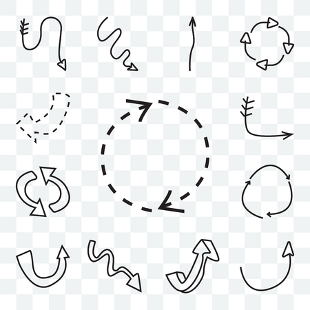 Set Of 13 transparent icons such as Rotating arrows, Semicircular up arrow, Curved Arrow with scribble, upward Loop web ui editable icon pack, transparency set Çizim