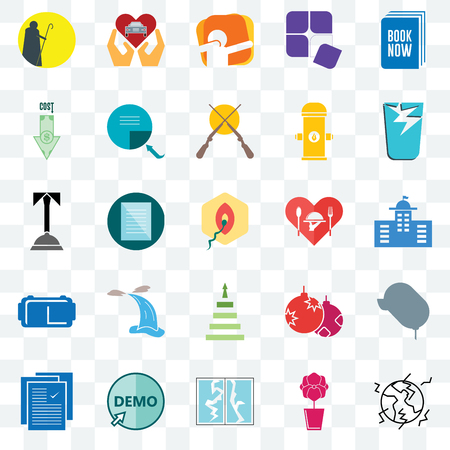 Set Of 25 transparent icons such as earthquake, municipal, broken glass, car dealer, specification, page turn, christmas bulb, concierge, web UI transparency icon pack, pixel perfect Ilustrace