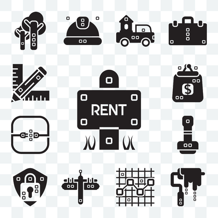 Set Of 13 transparent editable icons such as Maps and Flags, Paint roller, Line chart, Security system, Paper work, Electric, Purses, Graphic de, web ui icon pack Illustration