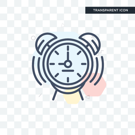 Alarm clock vector icon isolated on transparent background