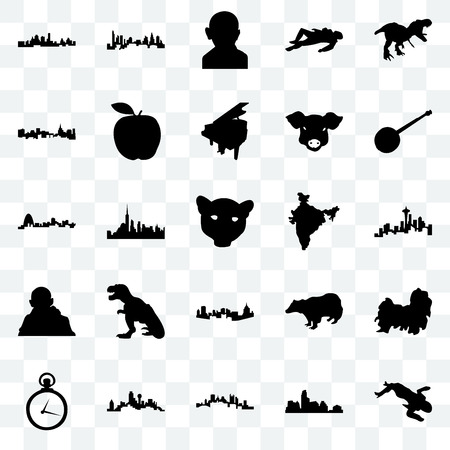 Set Of 25 transparent icons such as crime scene body, austin, pittsburgh, dallas, pocket watch, banjo, india map, gandhi, st paul, charlotte, web UI transparency icon pack Illustration