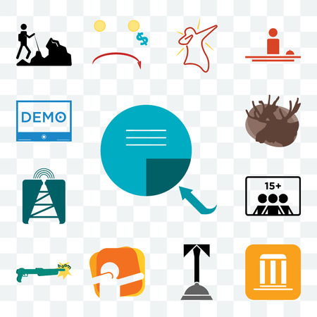 Set Of 13 transparent editable icons such as page turn, municipality, concierge, dab, shotgun, number of players, cell tower, moose, demo, web ui icon pack