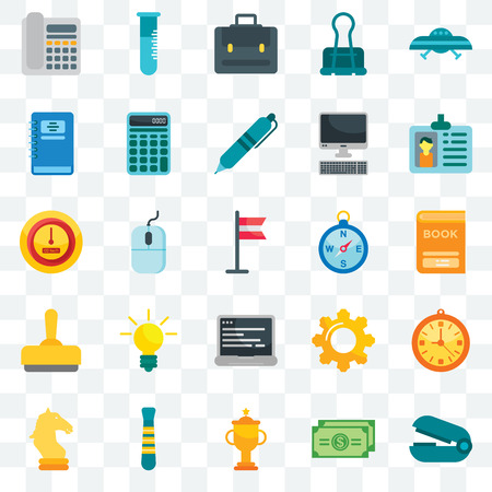Set Of 25 transparent icons such as Stapler remover, Dollar bill, Trophy, Tie, Horse, Id card, Compass, Laptop, Stamp, Notebook, Portfolio, Flask, web UI transparency icon pack Illusztráció