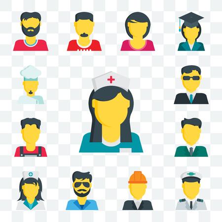 Set Of 13 transparent editable icons such as Nurse, Pilot, Engineer, Man, Businessman, Secret service, Chef, web ui icon pack Illustration