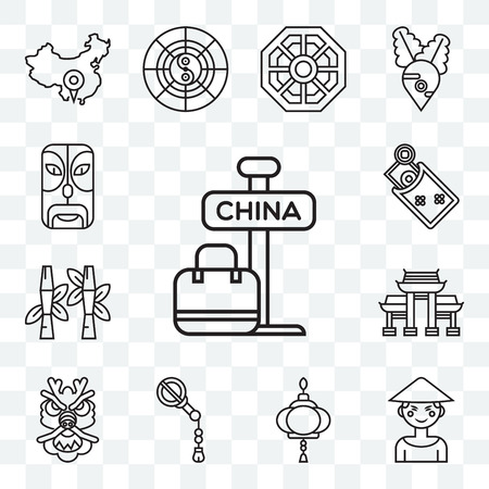 Set Of 13 transparent editable icons such as China, Chinese, Paper lantern, Fan, Dragon, Paifang, Bamboo, Money, Mask, web ui icon pack