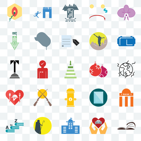 Set Of 25 transparent icons such as page turn, earthquake, vr headset, join us, vocabulary, car dealer, specification, concierge, web UI transparency icon pack, pixel perfect Banco de Imagens - 107988800