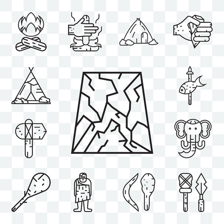 Set Of 13 transparent editable icons such as Cave, Weapon, Boomerang, Troglodyte, Cudgel, Mammoth, Axe, Fishing, Tipi, web ui icon pack