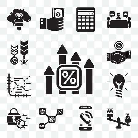 Set Of 13 transparent editable icons such as Bar chart, Balance, Smartphone, Network, Padlock, Lightbulb, Line Deal, Medal, web ui icon pack