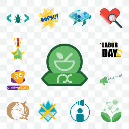 Set Of 13 transparent editable icons such as pharmacy, antioxidant, campaign management, crossed skis, hamster, call now, 3rd anniversary, labor day, veteran, web ui icon pack