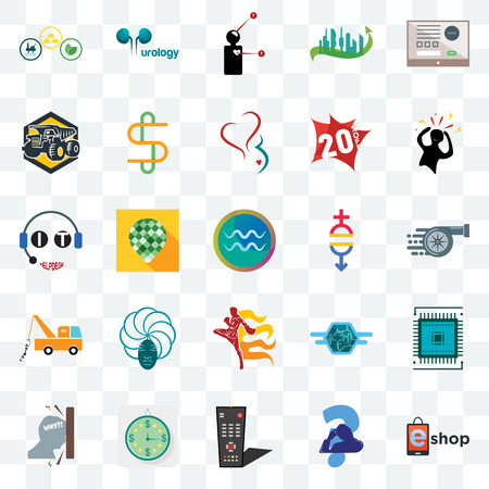 Set Of 25 transparent icons such as eshop, scratching head, tv remote, estimate, frustration, panic, gender equality, muay thai, tow truck, dump symptoms, urology, web UI transparency icon pack
