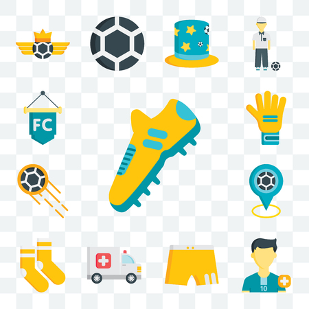 Set Of 13 transparent editable icons such as Football shoes, Soccer player, Shorts, Ambulance, Socks, Point, Ball, Gloves, Flag, web ui icon pack