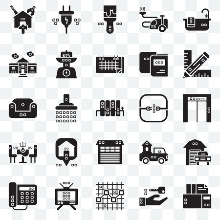 Set Of 25 transparent icons such as Archives, Up, Graphic de, Electric, Domestic phone, Kilograms, Trucks, Sit down, web UI transparency icon pack, pixel perfect