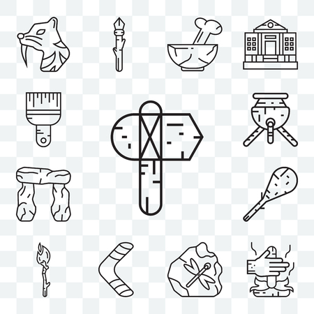 Set Of 13 transparent editable icons such as Axe, Fire,Boomerang, Torch, Cudgel, Stonehenge, Pot, Brush, web ui icon pack