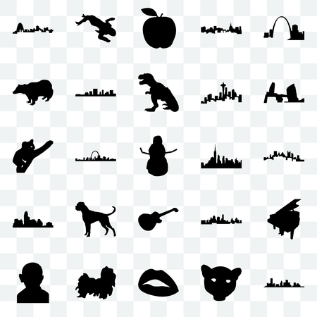 Set Of 25 transparent icons such as houston,  face, lips, shih tzu, gandhi, long island, nyc, image les paul, austin, badger, apple, crime scene body, web UI transparency icon pack