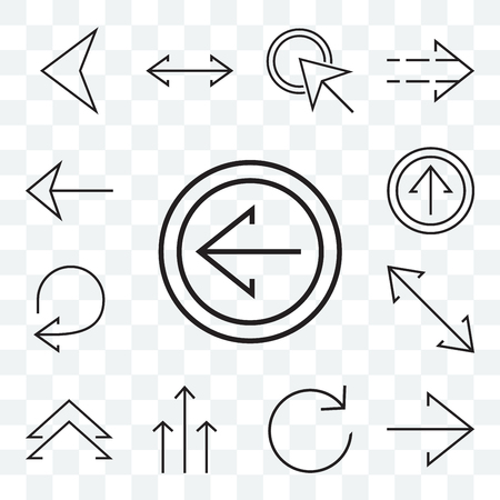 Set Of 13 transparent editable icons such as Left arrow, Right Refresh, Three arrows, Up chevron, Diagonal, Circular web ui icon pack  イラスト・ベクター素材