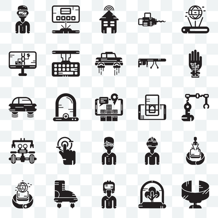 Set Of 25 transparent icons such as Panoramic view, Industrial robot, Wi gloves, Hologram, Smartwatch, Keyboard, Vr glasses, Flying car, web UI transparency icon pack, pixel perfect Illustration