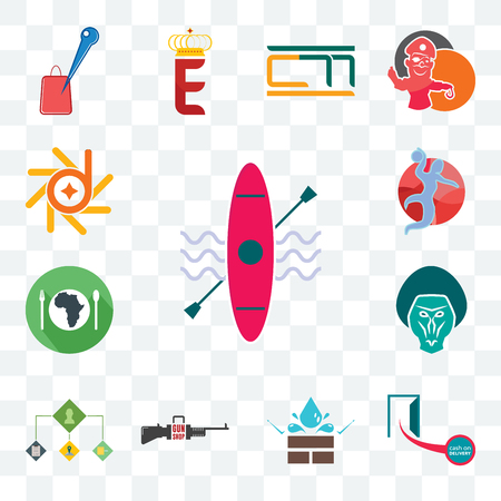 Set Of 13 transparent editable icons such as kayak, cash on delivery, water resistant, gun shop, order management, baboon, hunger, handball, d-star, web ui icon pack Illustration