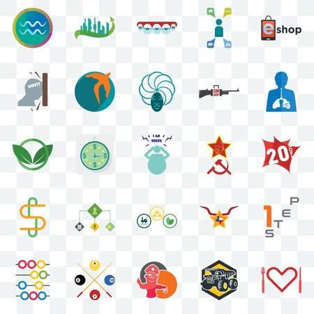 Ensemble de 25 icônes transparentes telles que l'appétit, 20% de réduction, l'inflammation, la ville future, abaque, swift, star du texas, eco club, pack d'icônes de transparence de l'interface utilisateur web, pixel parfait Vecteurs