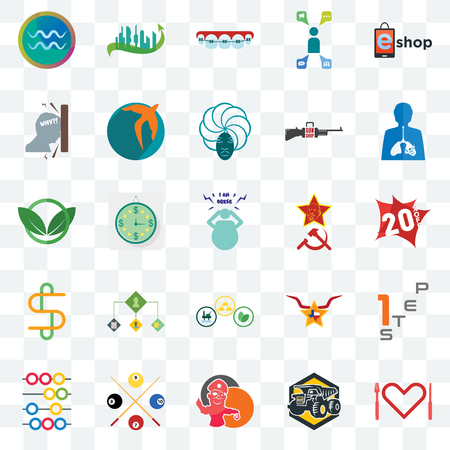 Set Of 25 transparent icons such as appetite, 20% off, inflammation, future city, abacus, swift, texas star, eco club, web UI transparency icon pack, pixel perfect