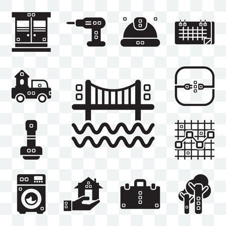 Set Of 13 transparent editable icons such as Bridges, Trees, Book bag, Real estate, Cleaned, Line chart, Paper work, Electric, Trucks, web ui icon pack Ilustrace