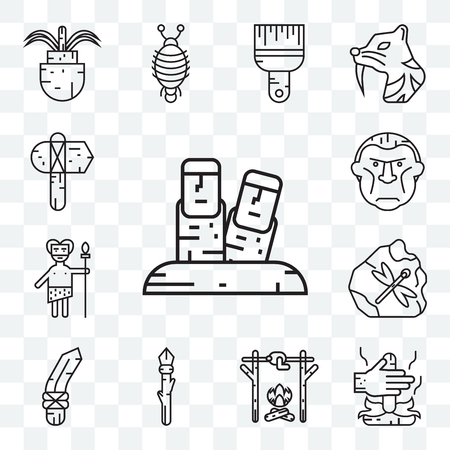 Set Of 13 transparent editable icons such as Moai, Fire, Roast chicken, Spear, Knife, Troglodyte, Axe, web ui icon pack Illustration
