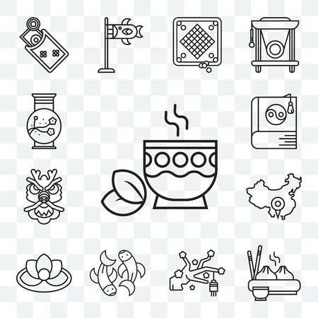Set Of 13 transparent editable icons such as Tea, Dumpling, Sakura, Fishes, Lotus, China, Dragon, Yin yang, Vase, web ui icon pack Illustration